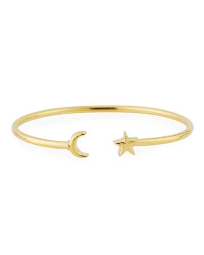 Moon & Star Cuff Bracelet, Gold Vermeil