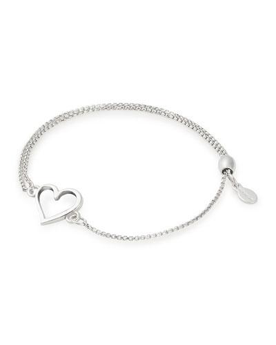 Heart Pull-Chain Bracelet, Silver