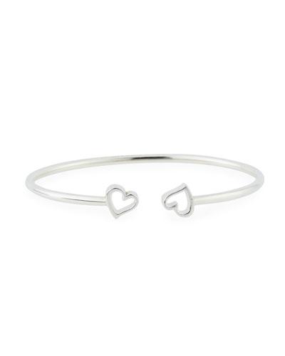 Heart Kick Cuff Bracelet, Silver