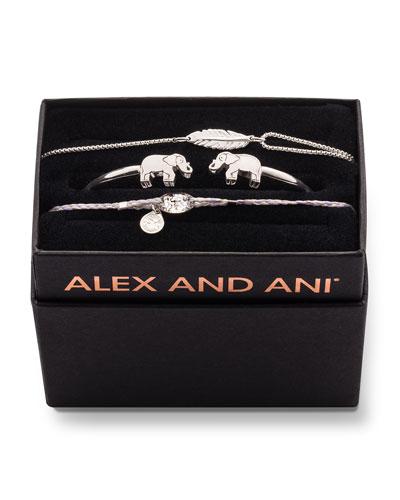 Elephant Cuff Bracelet Gift Set, Silver