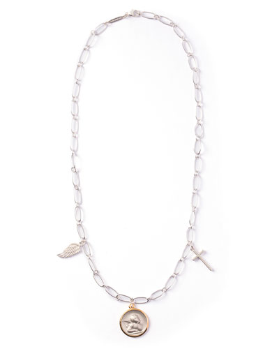 Holy Ones Cross & Angel Charm Necklace