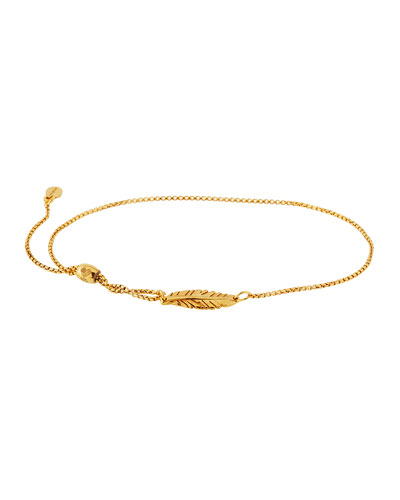Feather Pull-Chain Bracelet, Gold Vermeil
