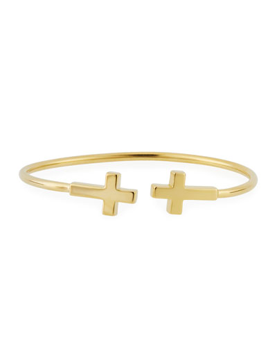 Precious Side Cross Kick Cuff Bracelet, Gold Vermeil