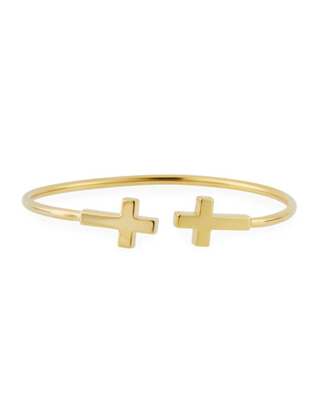 Alex and Ani Precious Side Cross Kick Cuff Bracelet, Gold Vermeil