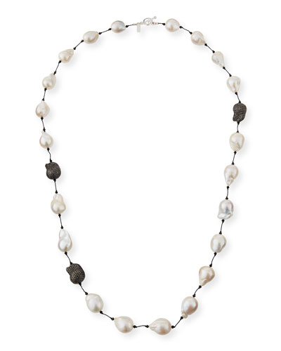 Fifth Avenue Long Pearl & Spinel Necklace, 36