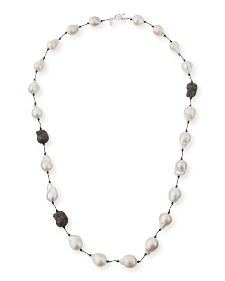 "Margo Morrison Fifth Avenue Long Pearl & Spinel Necklace, 36""L"