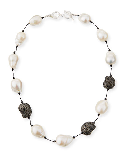 Fifth Avenue Short Pearl & Spinel Necklace, 18