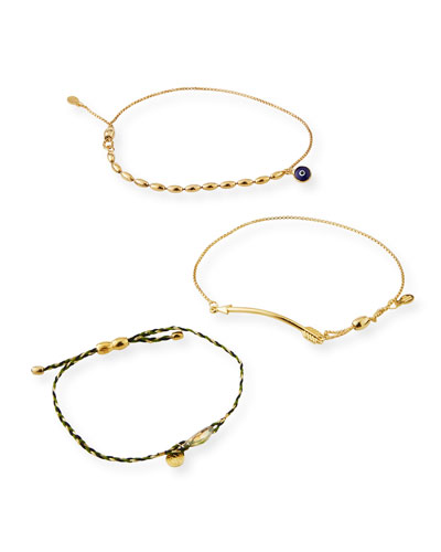 Arrow Pull-Chain Bracelet Gift Set, Gold