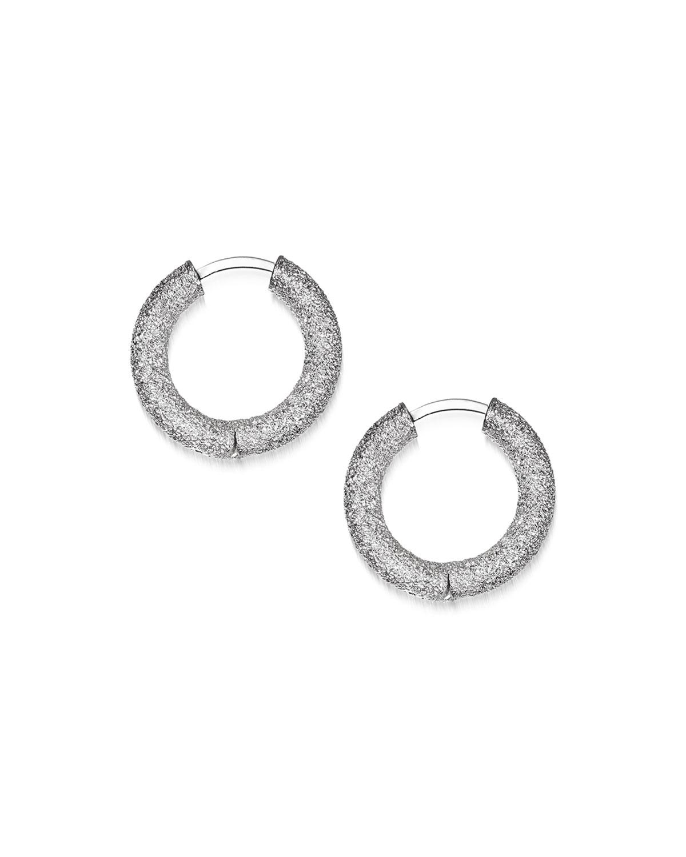 CAROLINA BUCCI 18K White Gold Florentine Huggie Hoop Earrings in White/Gold
