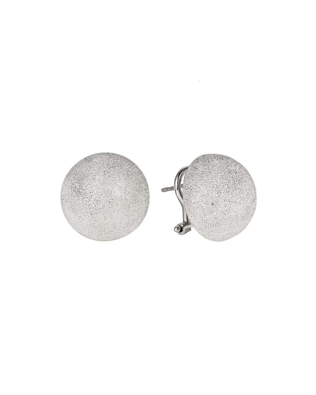 CAROLINA BUCCI 18K White Gold Florentine Large Stud Earrings W/ Clip in White/Gold