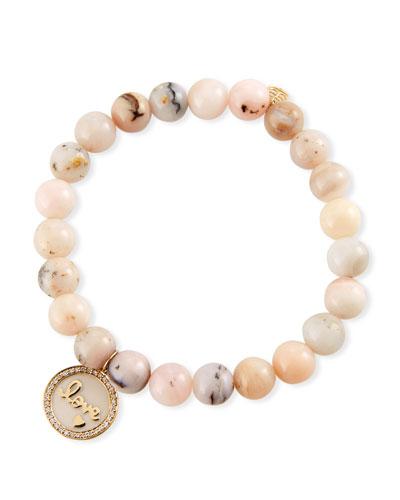 14k Love Medallion & Pink Opal Bracelet