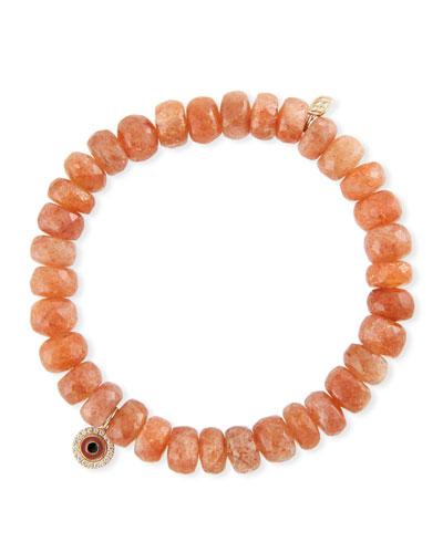 14k Enamel Evil Eye & Sunstone Bracelet