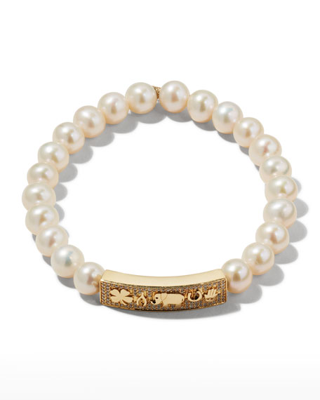 Sydney Evan 14k Diamond & Pearl Luck Tableau Bracelet
