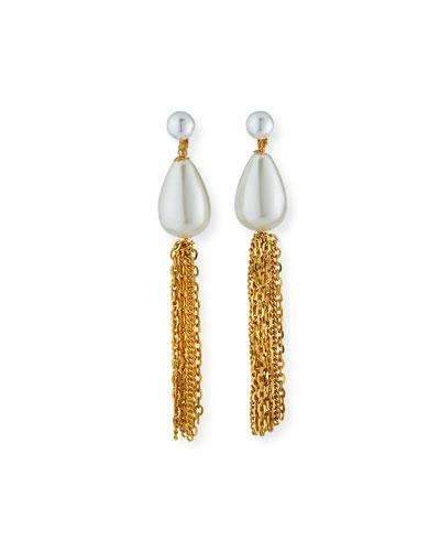 Pearly Teardrop Tassel Clip Earrings