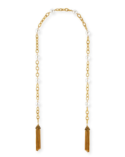 Extra-Long Pearly Tassel Necklace