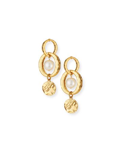 Pearly Link-Drop Earrings