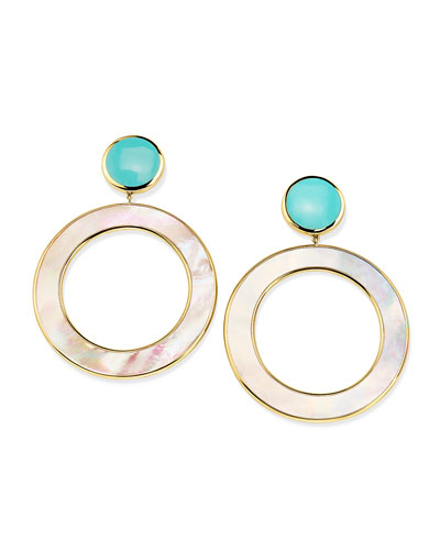 18K Polished Rock Candy Dot & Circle Earrings in Mother-of-Pearl & Turquoise