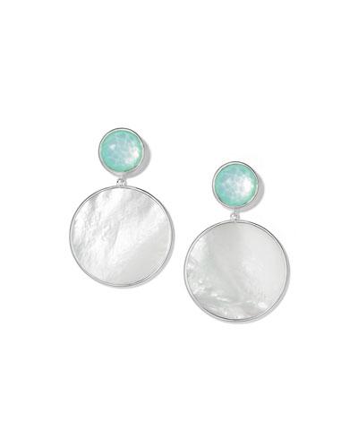 Wonderland Stone & Shell Snowman Earrings in Brazilian Blue