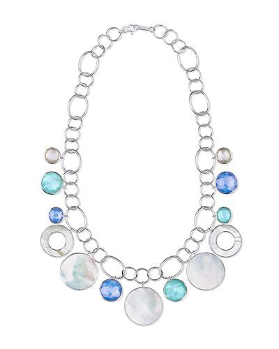 Wonderland Chain Link Necklace w/ Shell & Stone Drops in Brazilian Blue
