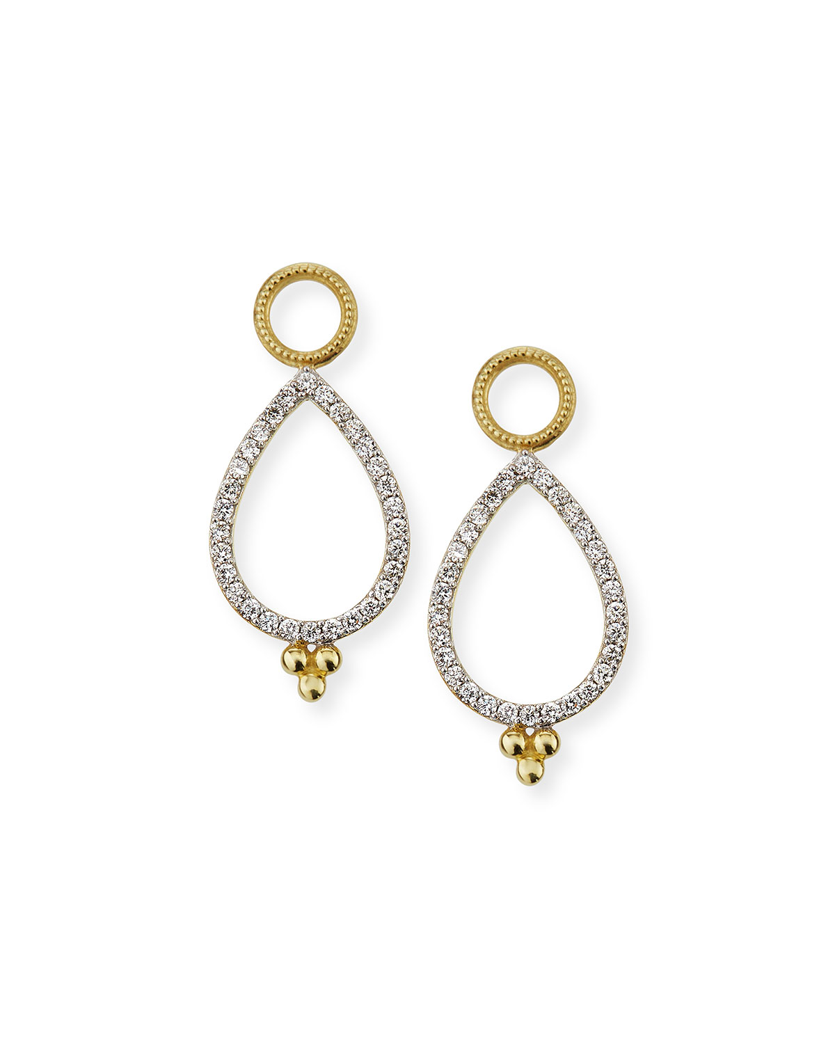 Provence 18k Delicate Open Pear Pave Earring Charms