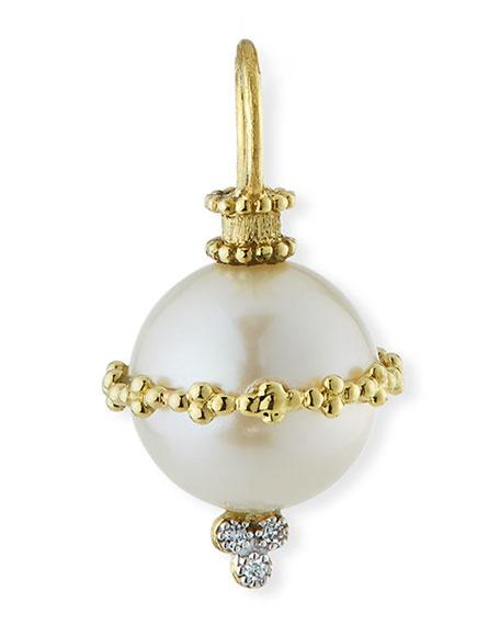 Jude Frances Provence 18k Wrapped Pearl Beaded Pendant w/ Diamonds