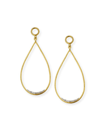 Provence 18k Large Open Teardrop Earring Charms w/ Diamonds