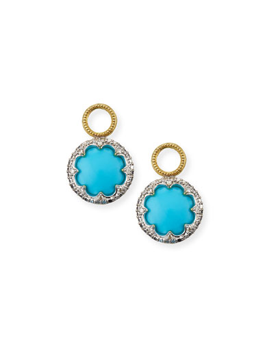 Provence 18k Round Earring Charms w/ Pave, Turquoise