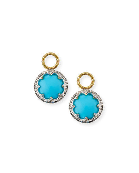 Jude Frances Provence 18k Round Earring Charms w/ Pave, Turquoise