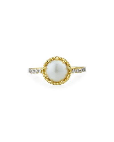 Provence 18k Pearl & Diamond Ring, Size 7