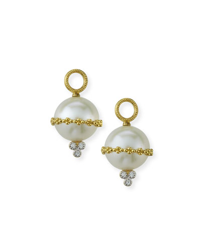 Provence 18k Wrapped Pearl Beaded Earring Charms w/ Diamonds