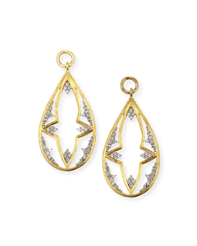 Provence 18k Open Flower Teardrop Earring Charms w/ Diamonds