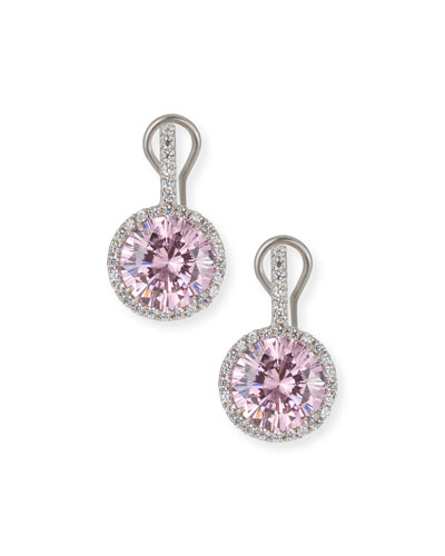 Round Cubic Zirconia & Halo Drop Earrings, Clear/Pink