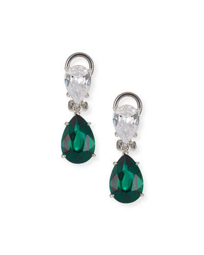 Cubic Zirconia Double-Pear Earrings, Clear/Green