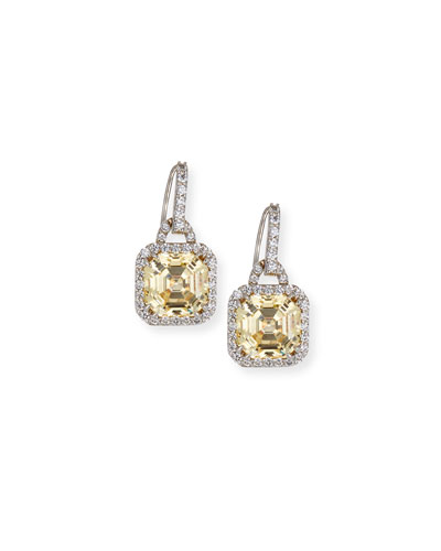 Asscher-Cut Cubic Zirconia Drop Earrings, Canary