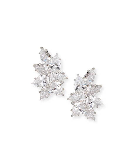 Fantasia by DeSerio Cubic Zirconia Cluster Earrings, Clear