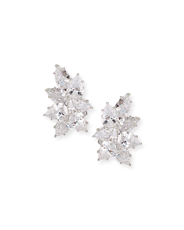 Cubic Zirconia Cluster Earrings