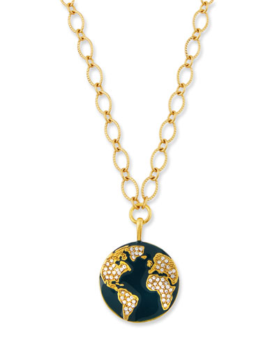 Globe Talisman Necklace w/ Crystals