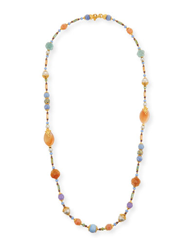 Long Semiprecious Beaded Necklace, Pastel