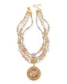 Jose & Maria Barrera Semiprecious Decoupage Pendant Necklace,