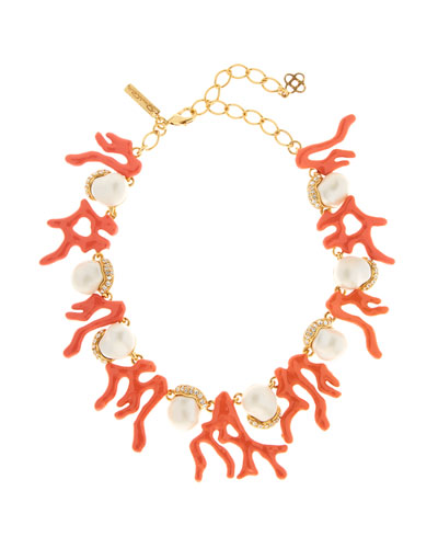 Crystal & Coral Station Necklace