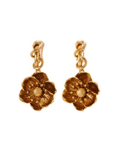 Poppy Flower Clip-On Drop Earrings