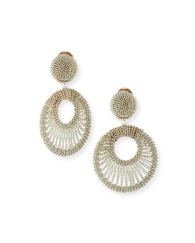 Beaded Hoop Clip Earrings, Silver