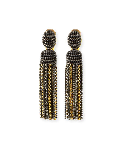 Short Crystal Tassel Clip-On Earrings