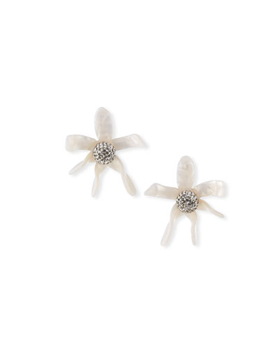 Water Lily Button Earrings, White