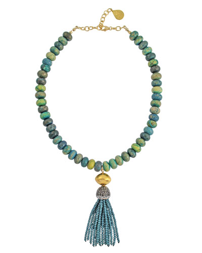 Chrysocolla Beaded Tassel Necklace