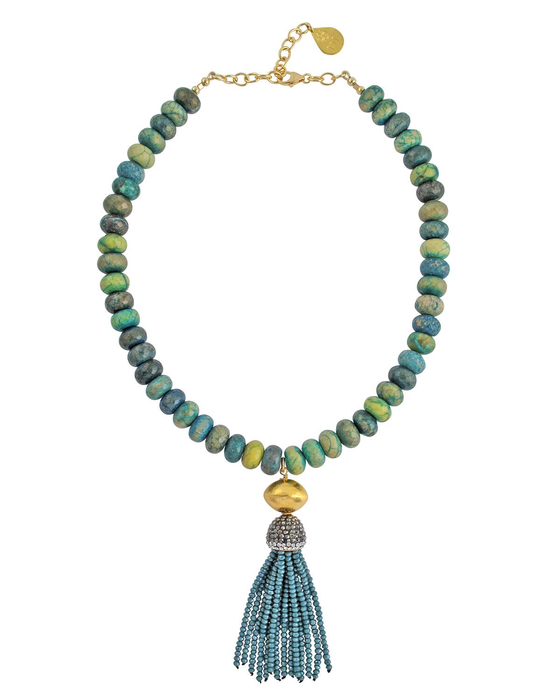 Chrysocolla Beaded Tassel Necklace