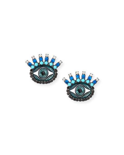 Fern Evil Eye Stud Earrings, Blue
