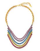 Elizabeth Cole Torrance Crystal Layer Necklace, Rainbow