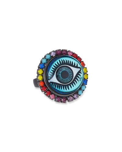 Blythe Evil Eye Ring in Rainbow