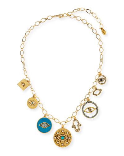 Long Evil Eye Charm Necklace